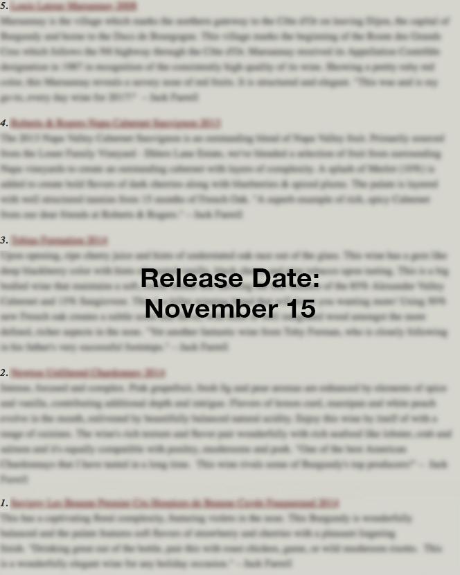 Nov 15 Release